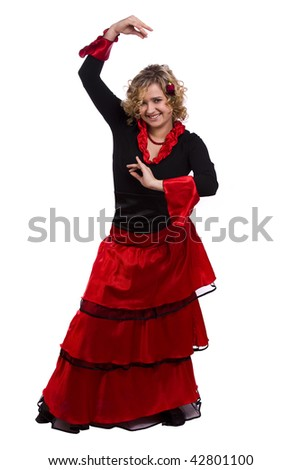 Woman wearing fancy dress on Halloween. Dancers in national Spanish costumes. Beautiful spanish dancer on white background. - stock photo