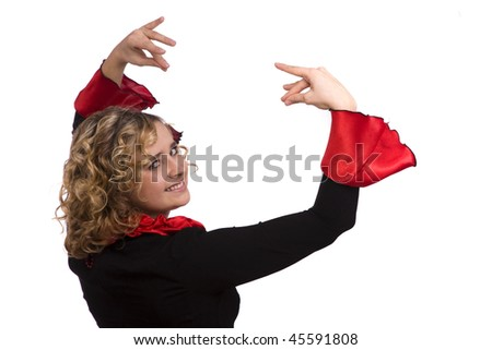 Woman wearing fancy dress on Halloween. Dancers in national Spanish costumes. isolated on white - stock photo