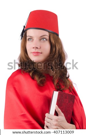 Woman wearing fez hat isolated on white - stock photo