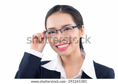 Woman wearing glasses eyewear. Portrait of young female professinal business woman wearing glasses looking at camera smiling happy. Asian woman model isolated on white background.. - stock photo