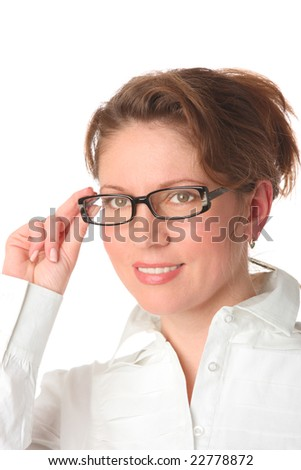 woman wearing glasses on a white background