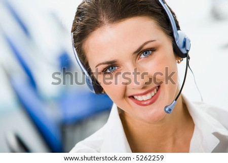 Woman Wearing Headset - stock photo