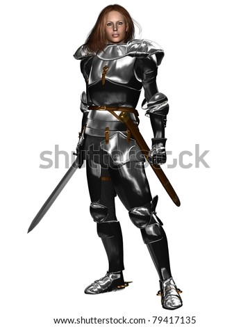 Woman wearing Medieval or Fantasy armor and holding a sword, 3d digitally rendered illustration - stock photo