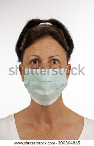 Woman wearing protective mask/ Be Careful Of Germs