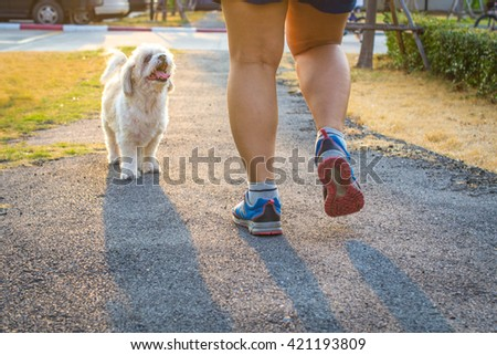 woman wearing sports shoes, walkingor running with dog - stock photo