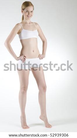 woman wearing underwear - stock photo