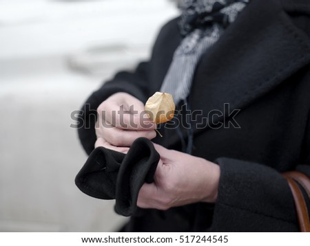 Woman wearing warm coat holding a flower in her hands, shallow depth of field shot
