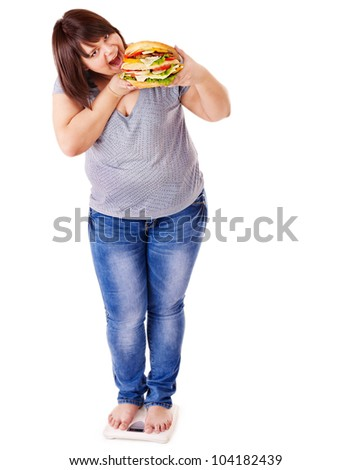 Woman weight loss on scales. Isolated. - stock photo