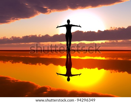 Woman welcoming the sunrise praising the day