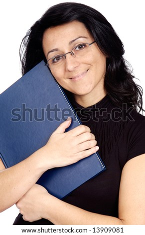 Woman whit book and glasses a over white background