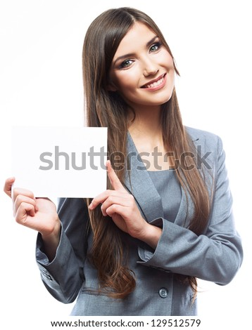 Woman white banner show. Business woman isolated white background . - stock photo