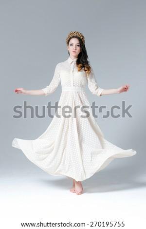 Woman white dress - stock photo