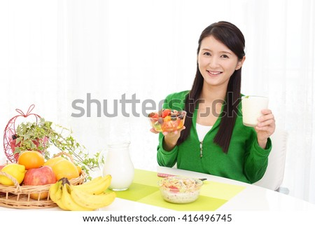 Woman who eats healthy foods