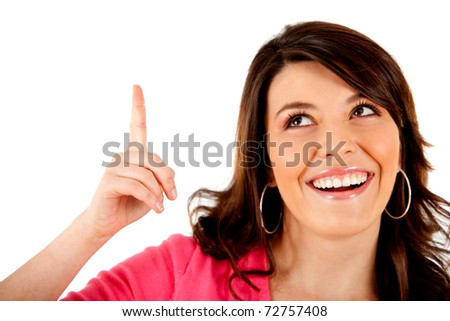 Woman who got an idea - isolated over a white background - stock photo