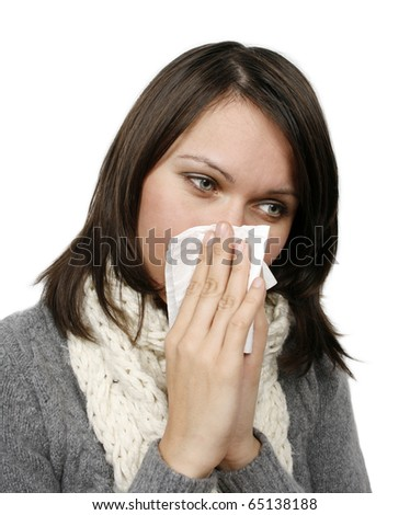 Woman who has caught cold isolated on white background - stock photo