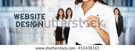 Woman who is designing a web site - stock photo