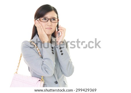 Woman who is talking on a smart phone