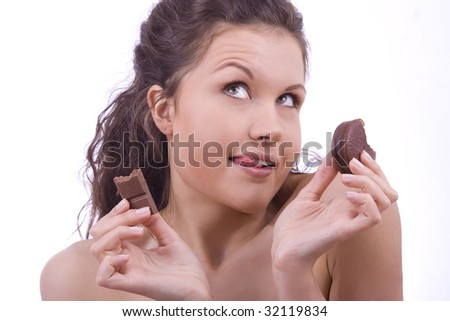 woman who likes sweets and doesn't know diet - stock photo