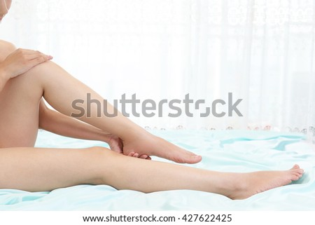 Woman who takes care of her legs