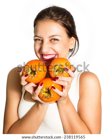 Woman who very fond persimmon!