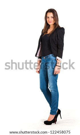 Woman, whole figure on white - stock photo