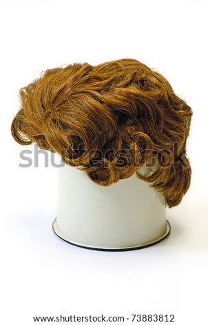 woman wig on white isolated - stock photo
