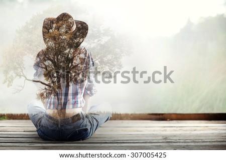 woman wild west white background - stock photo