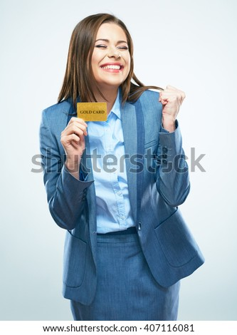 woman winning the lottery. suit credit card show. White background isolated.
