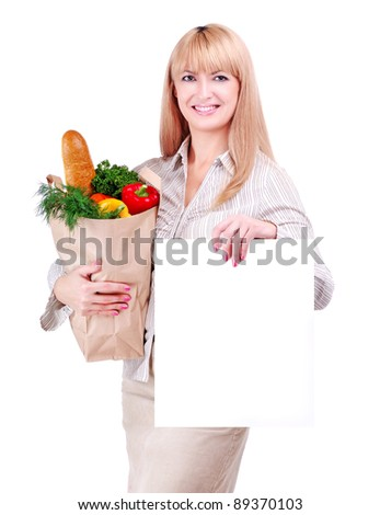 Woman with a bag with food holding a blank sign