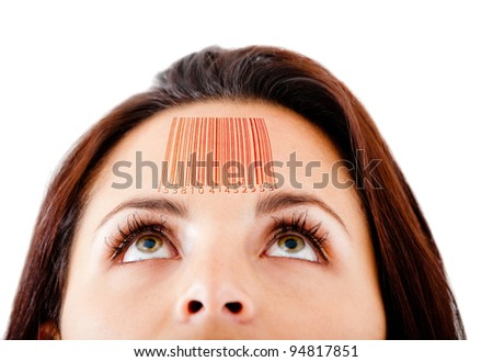 Woman with a barcode in her forehead selling knowledge - isolated over white - stock photo