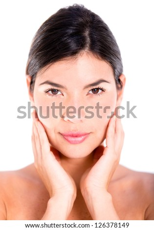 Woman with a beautiful face - isolated over a white background