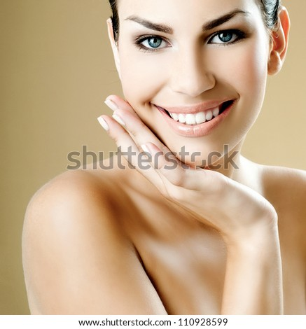 woman with a beautiful smile - stock photo