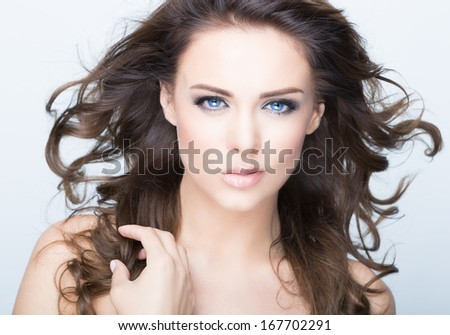 woman with a beauty face - stock photo