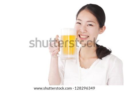 Woman with a beer mug - stock photo