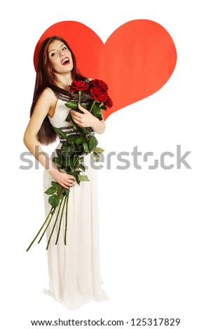 Woman with a bouquet of roses on a background of heart - stock photo