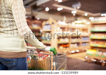 Woman with a cart in a store - stock photo