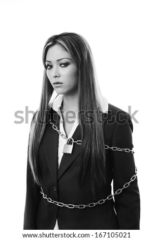woman with a chain and lock around her  - stock photo
