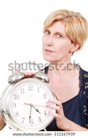 Woman with a clock - stock photo