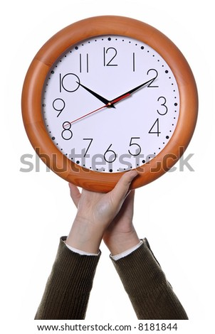 woman with a clock isolated in white background