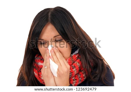 Woman with a cold / Cold - stock photo