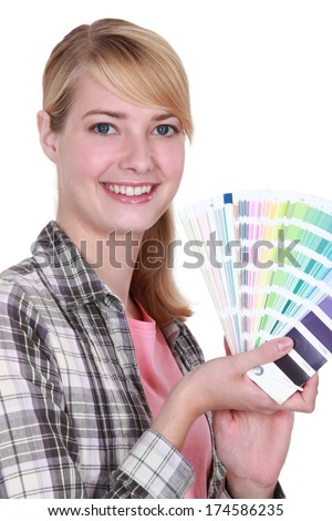 Woman with a color chart - stock photo