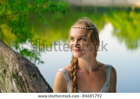 woman with a diadem on her head - stock photo