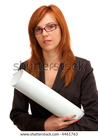 woman with a drawing in her hands - stock photo