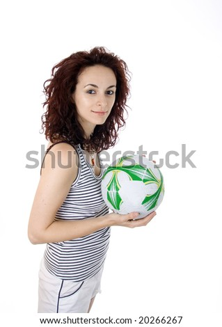 Woman with a football ball.
