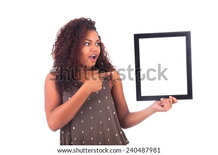 Woman with a frame around her face isolated over a white background - stock photo