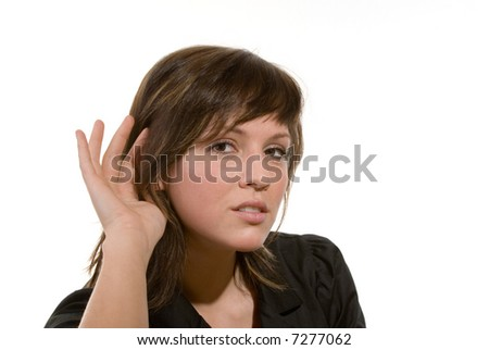woman with a gesture to listen