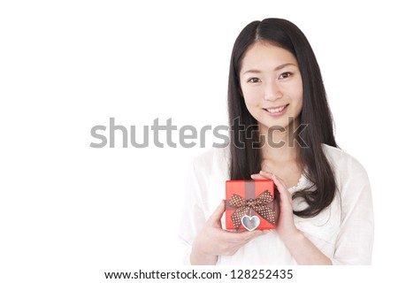 Woman with a gift box