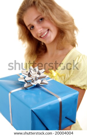 Woman with a giftbox