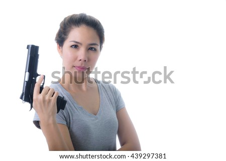 Woman with a gun isolated on white - stock photo