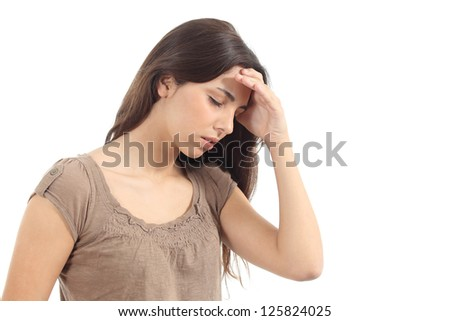 Woman with a headache and her hand in forehead on a white isolated background
